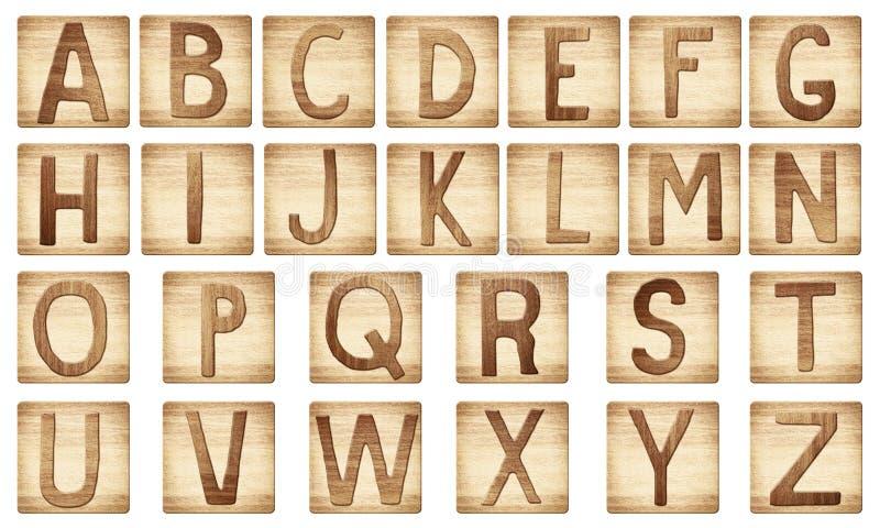 Деревянный алфавит помечает буквами блоки иллюстрация штока