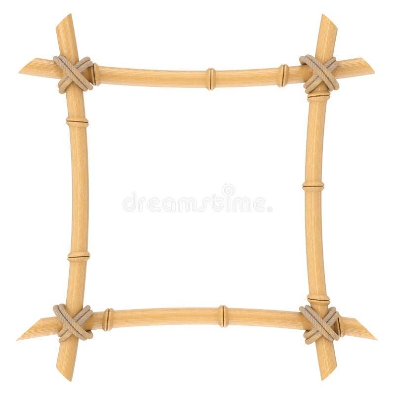 Деревянный бамбук вставляет шаблон рамки перевод 3d стоковая фотография rf