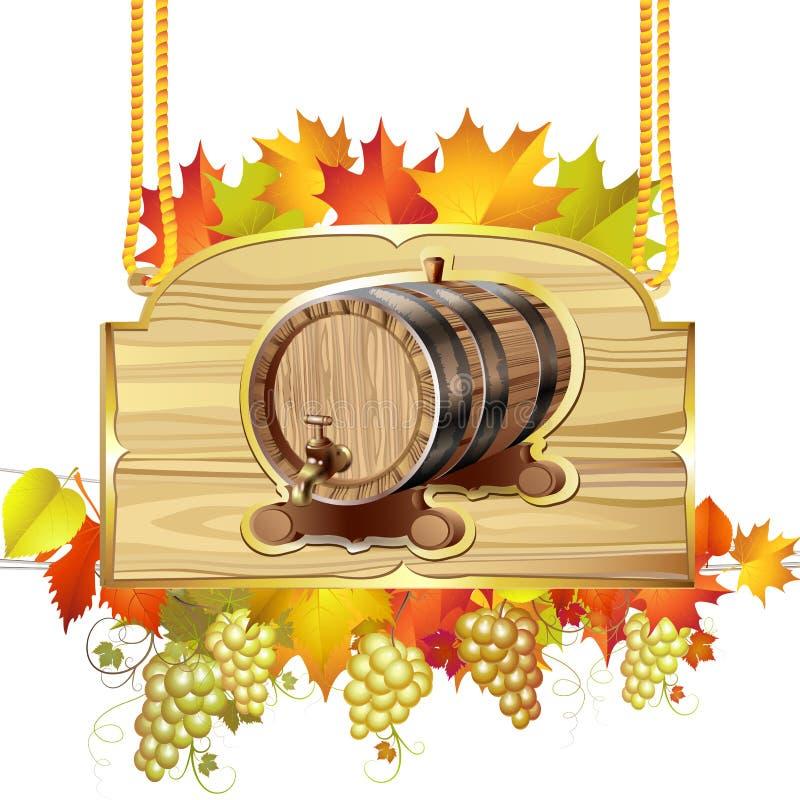 Деревянный бочонок для вина иллюстрация вектора