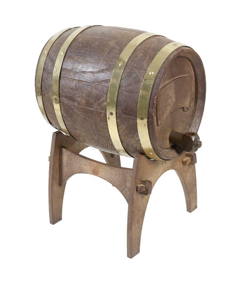 Деревянный бочонок на стойке стоковые изображения rf