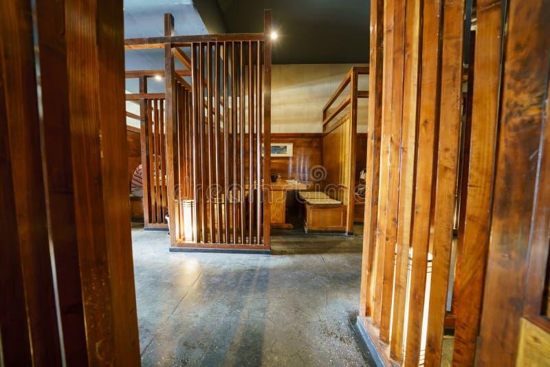 Деревянный взгляд японского стиля внутренний ресторана стоковая фотография rf