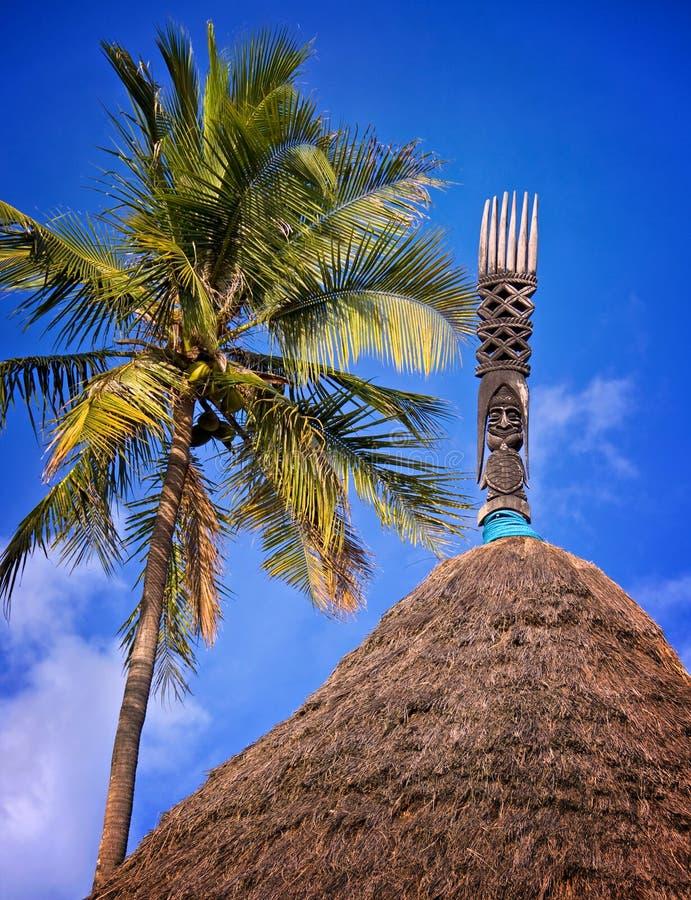 Деревянный высекаенный тотем на хате kanak стоковое изображение rf