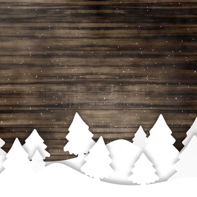 Деревянный график рождества зимы бесплатная иллюстрация
