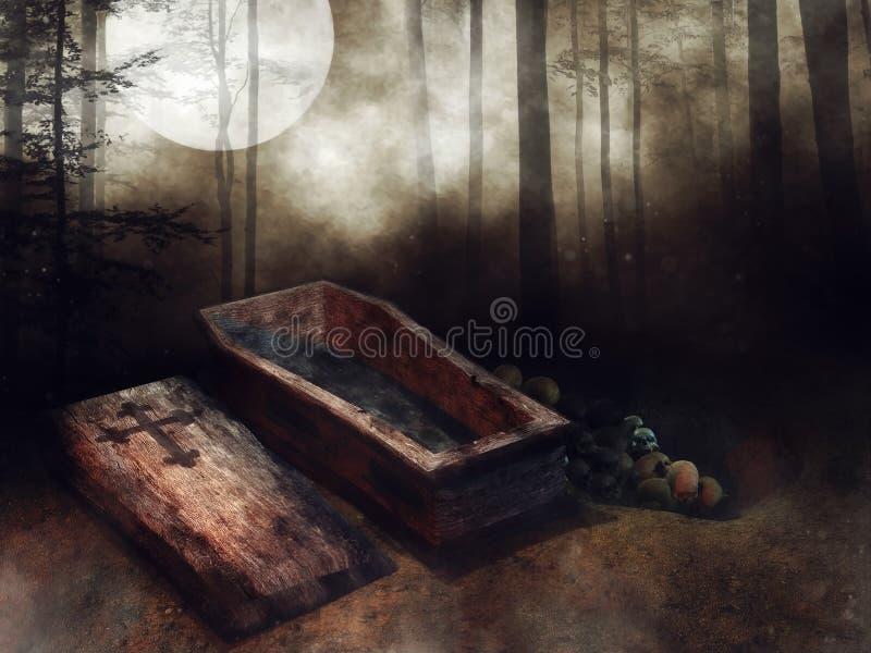 Деревянный гроб, косточки, и темный лес иллюстрация штока