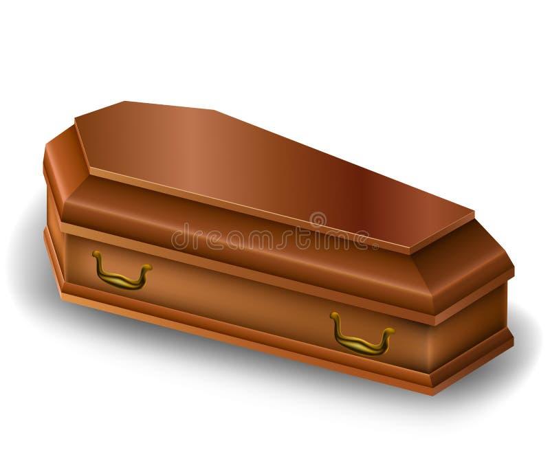 Деревянный гроб иллюстрация вектора