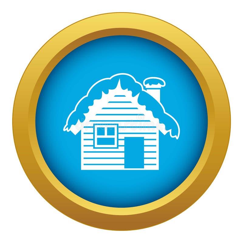Деревянный дом предусматриванный с изолированным вектором значка снега голубым бесплатная иллюстрация
