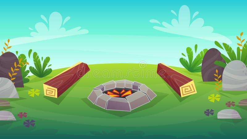 деревянный журнал 2 на располагаясь лагерем барбекю огня, иллюстрации вектора пикника природы мультфильма иллюстрация штока