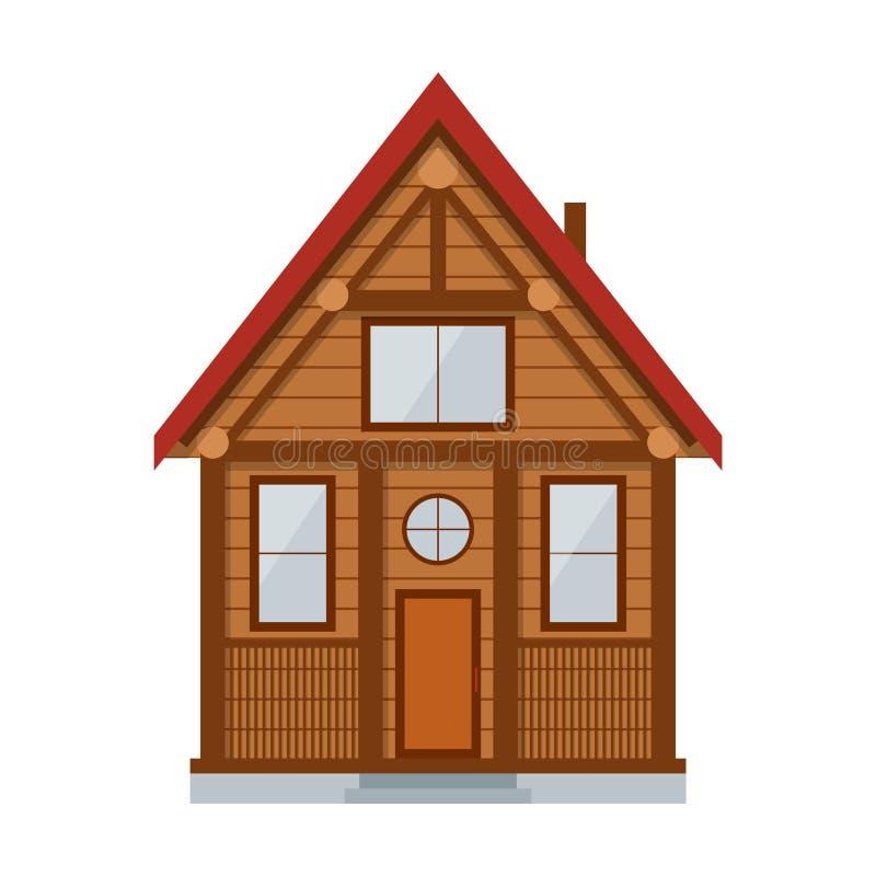 Деревянный загородный дом вектор иллюстрация штока