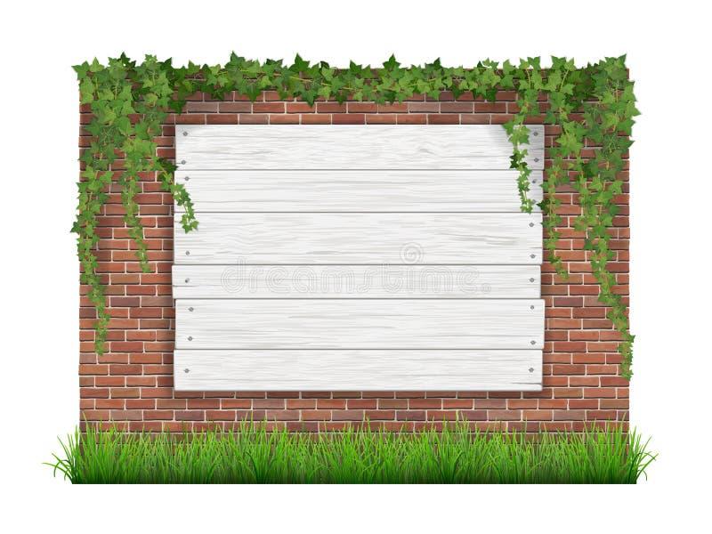 Деревянный знак на старой предпосылке кирпичной стены с зеленой травой и иллюстрация вектора