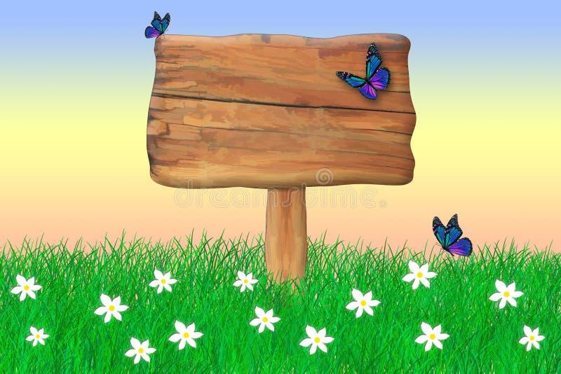 Деревянный знак окруженный бабочками стоковое фото rf