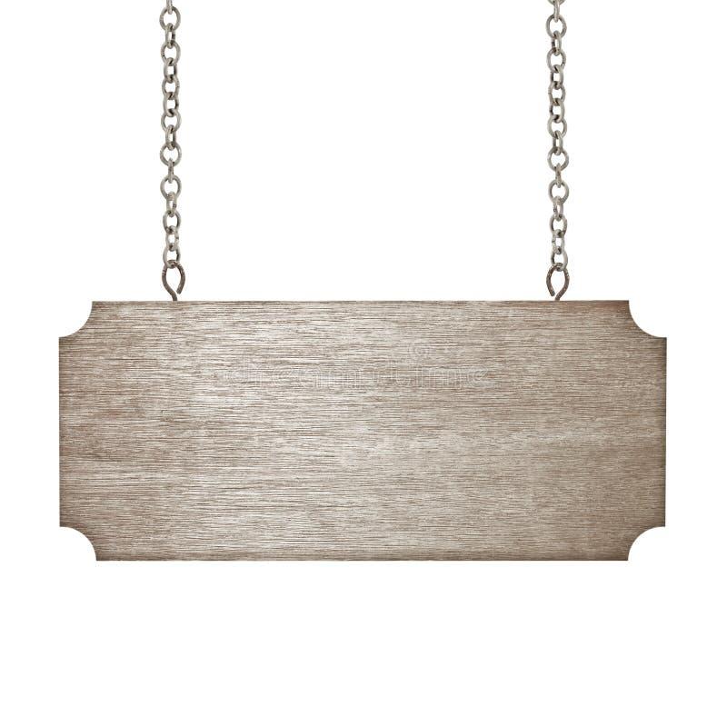 Деревянный знак от цепи изолированной на белизне стоковая фотография