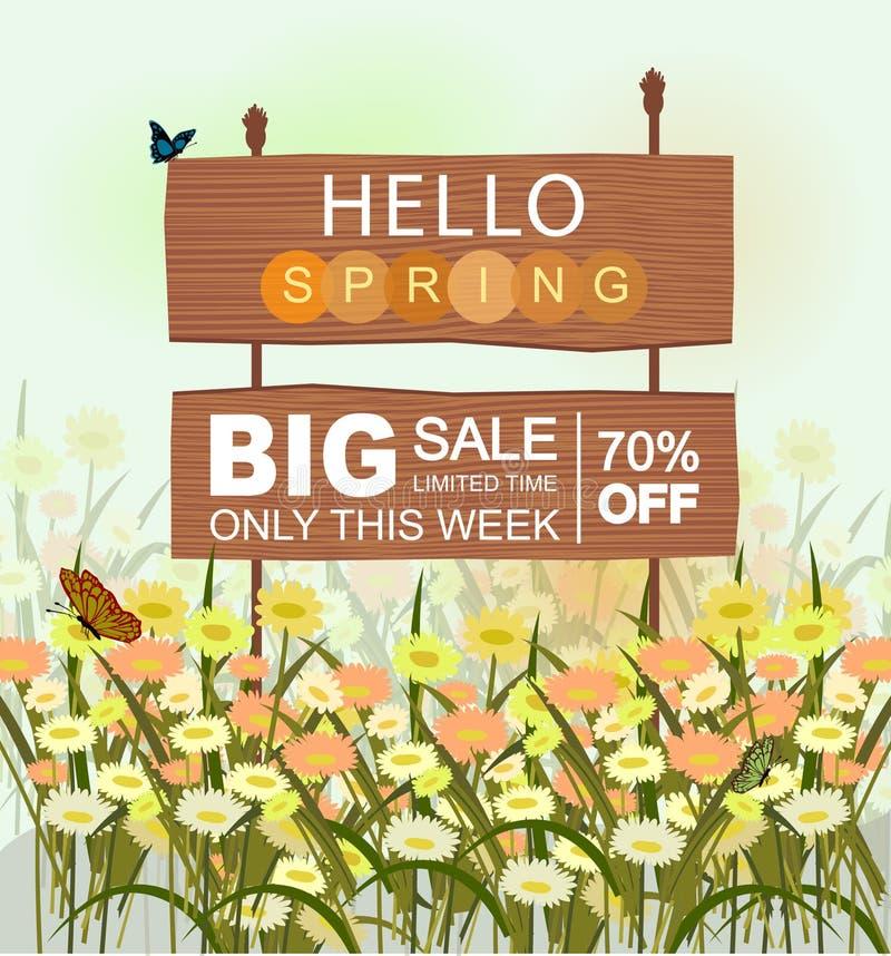 Деревянный знак продажи со здравствуйте литерностью весны, с цветками и бабочками иллюстрация штока