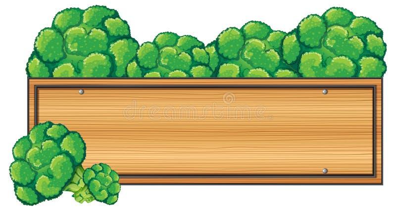 Деревянный знак с брокколи на верхней части иллюстрация штока