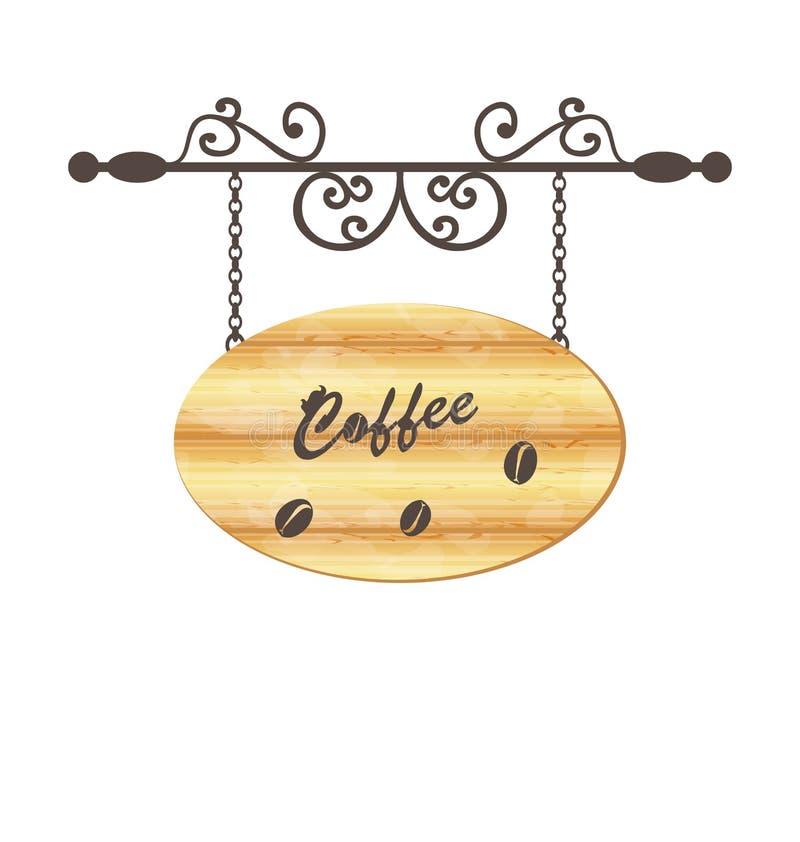 Деревянный знак с кофейным зерном, флористическим eleme вковки иллюстрация вектора