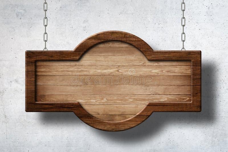 Деревянный знак с округленной формой вися на цепях с предпосылкой бетонной стены стоковые изображения rf