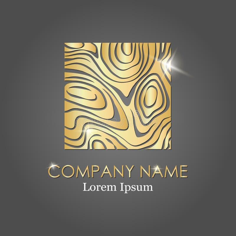 Деревянный значок знака Поперечное сечение ствола дерева Плоский значок логос также вектор иллюстрации притяжки corel Золото лого иллюстрация вектора