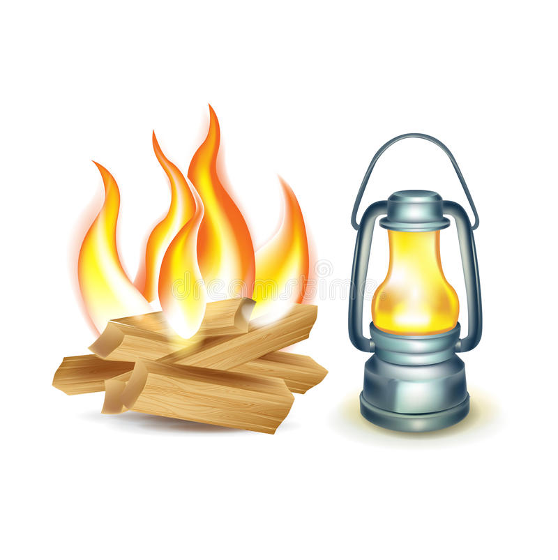 Деревянный изолированные пожар и масляная лампа лагеря иллюстрация штока
