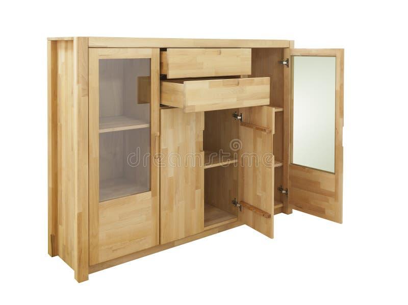 Деревянный изолированный шкаф стоковая фотография rf