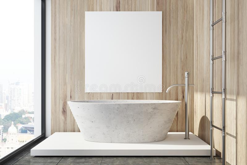 Деревянный интерьер ванной комнаты, ушат, крупный план плаката бесплатная иллюстрация