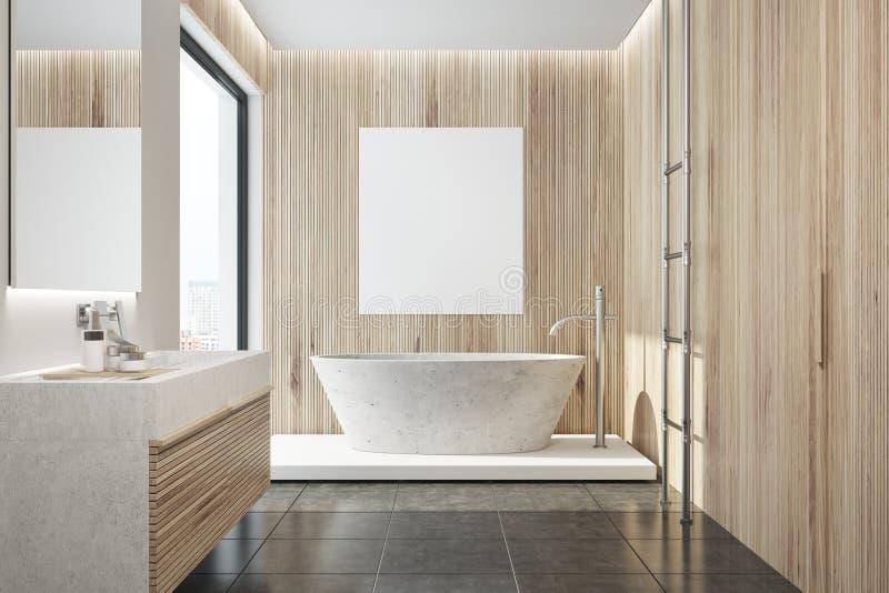 Деревянный интерьер ванной комнаты, ушат, плакат бесплатная иллюстрация