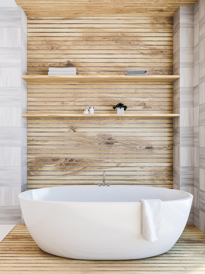 Деревянный интерьер ванной комнаты, ушат иллюстрация штока
