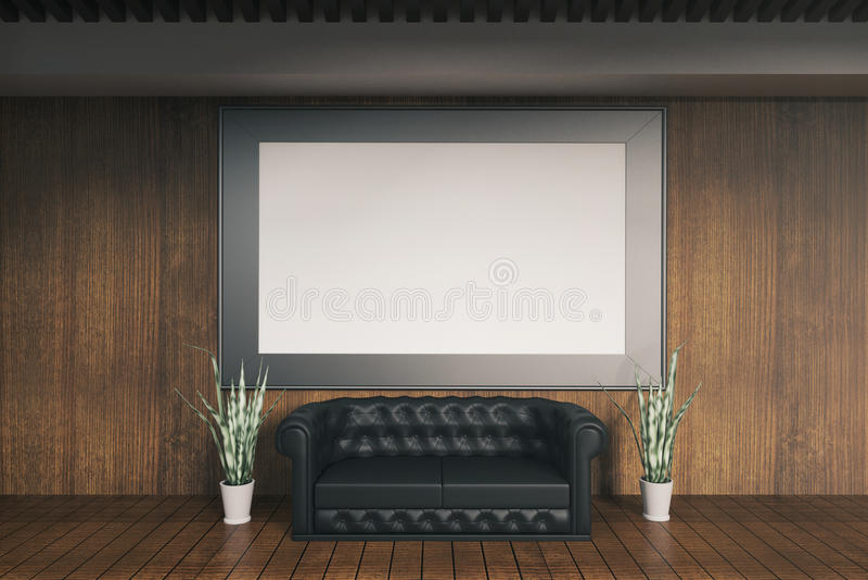 Деревянный интерьер с рамкой иллюстрация вектора