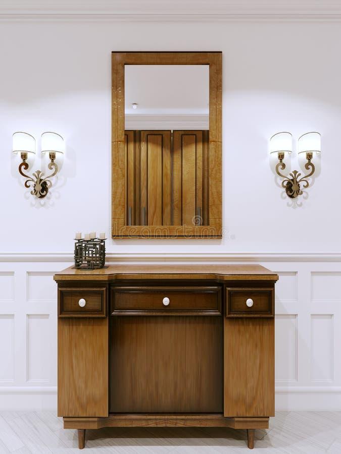 Деревянный комод ящиков в классическом коридоре стиля Внутренний c иллюстрация штока