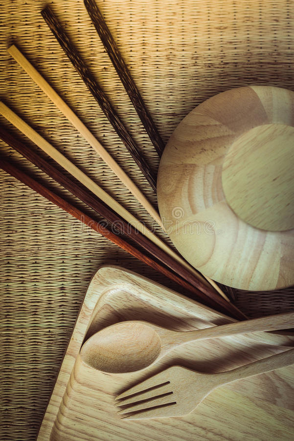 Деревянный комплект ложки палочек стоковое изображение rf
