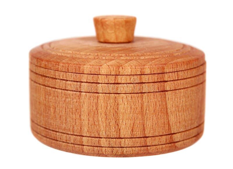 Деревянный контейнер, круглый случай, подарок r стоковые изображения rf