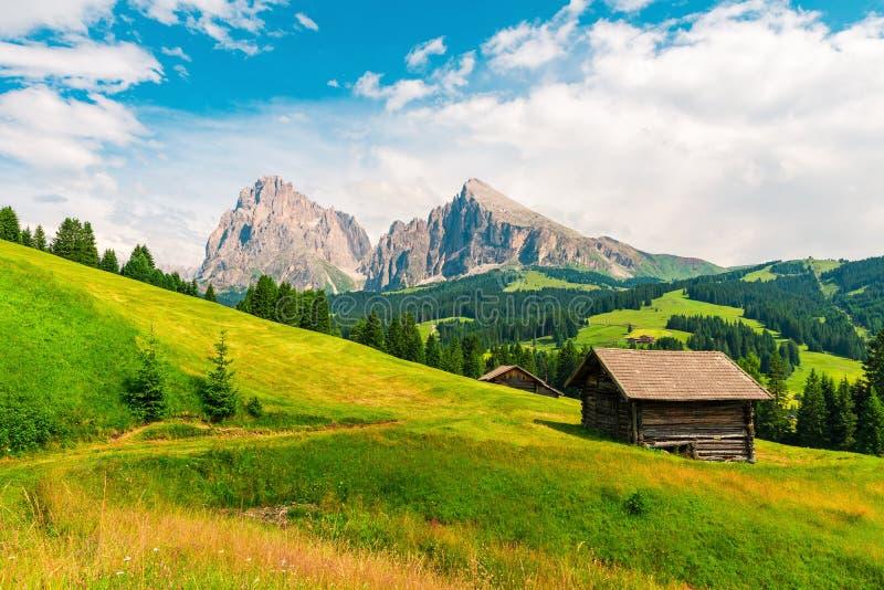 Деревянный коттедж на итальянском Dolomiti в Alpe di Siusi или Seiser Alm с группой горы Sassolungo или Langkofel стоковые фотографии rf