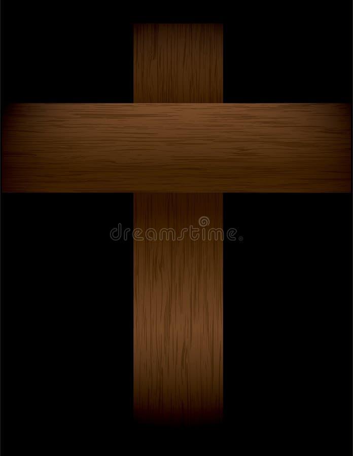 Деревянный крест на черной иллюстрации иллюстрация штока