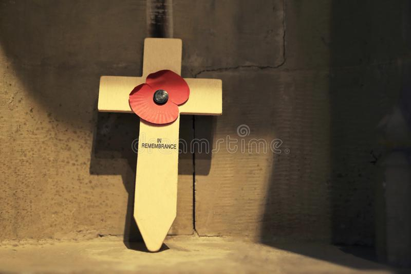 Деревянный крест с красным цветком мака на день памяти погибших в первую и вторую мировые войны стоковое изображение rf