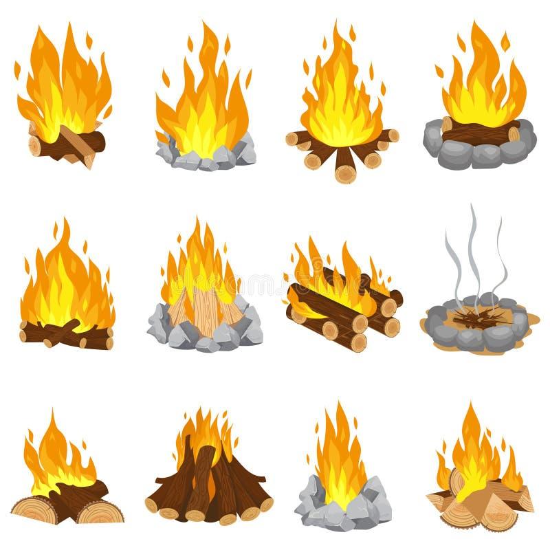 Деревянный лагерный костер На открытом воздухе костер, огонь горя деревянные журналы и располагаясь лагерем набор иллюстрации век иллюстрация штока