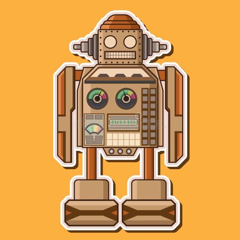 Деревянный милый дизайн вектора робота стоковая фотография rf