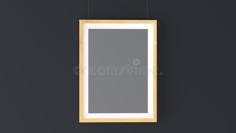 Деревянный модель-макет рамки фото Высокое разрешение 3D представляет бесплатная иллюстрация