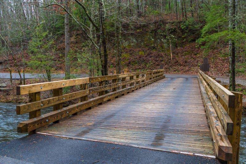 Деревянный мост в закоптелой горе стоковое фото rf