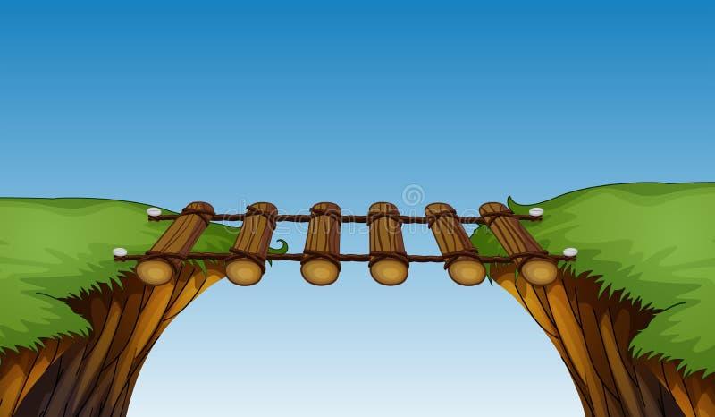 Деревянный мост между скалами иллюстрация вектора
