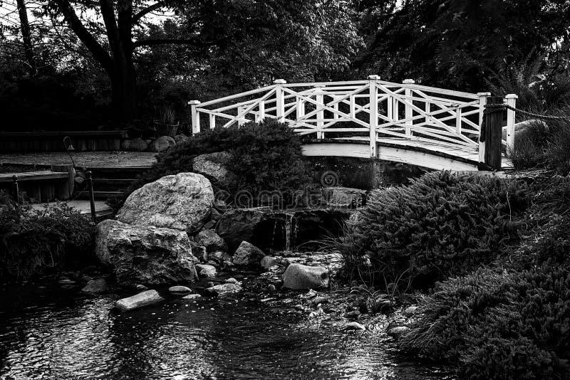 Деревянный мост над ручейком стоковое изображение rf