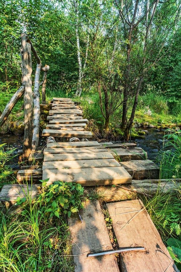 Деревянный мост над The Creek стоковое изображение