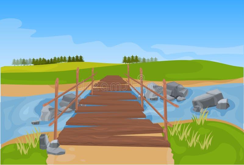 Деревянный мост через предпосылку ландшафта горы реки плоскую иллюстрация вектора