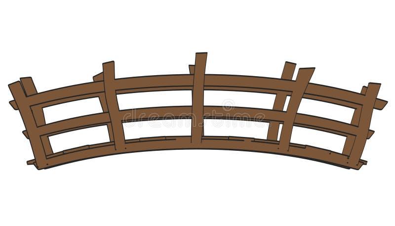 Деревянный мост иллюстрация вектора