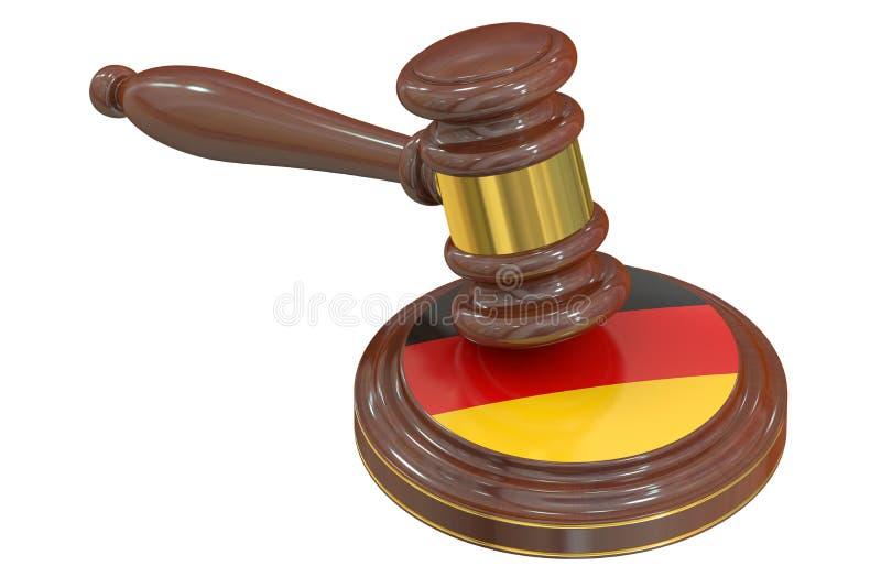 Деревянный молоток с флагом Германии, перевода 3D иллюстрация вектора