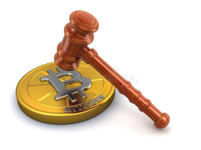 деревянный мушкел 3d и Bitcoin иллюстрация вектора