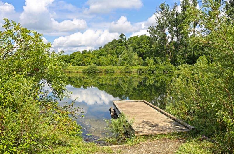 Деревянный док на озере стоковые изображения rf