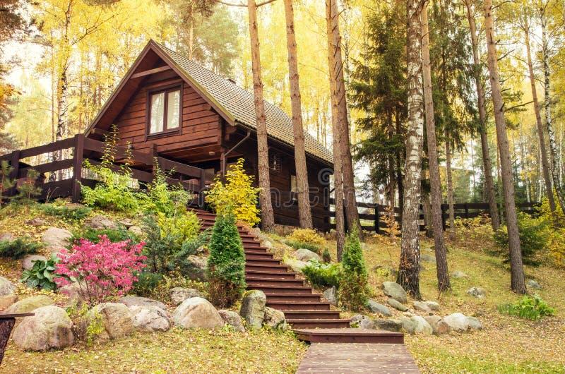 Деревянный дом в лесе стоковые фотографии rf