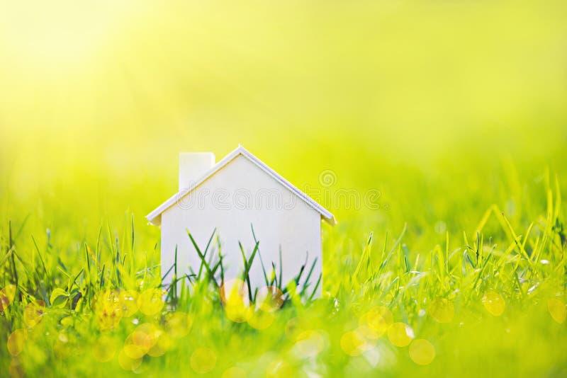Деревянный дом в зеленой траве на солнечности стоковая фотография