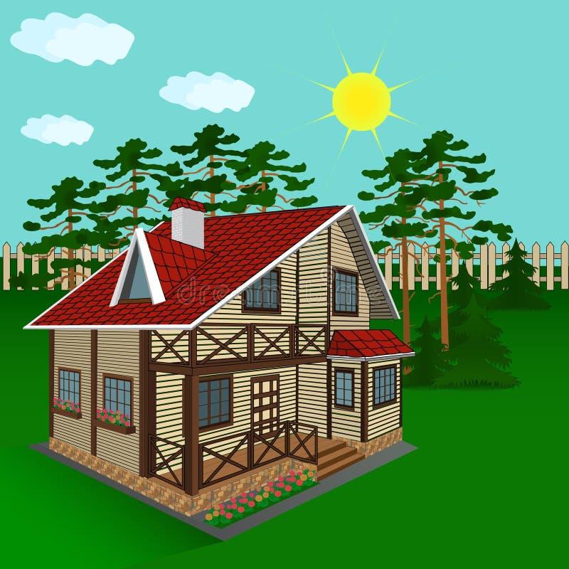 Download Деревянный дом, иллюстрация Иллюстрация вектора - иллюстрации насчитывающей коттедж, дом: 40584730