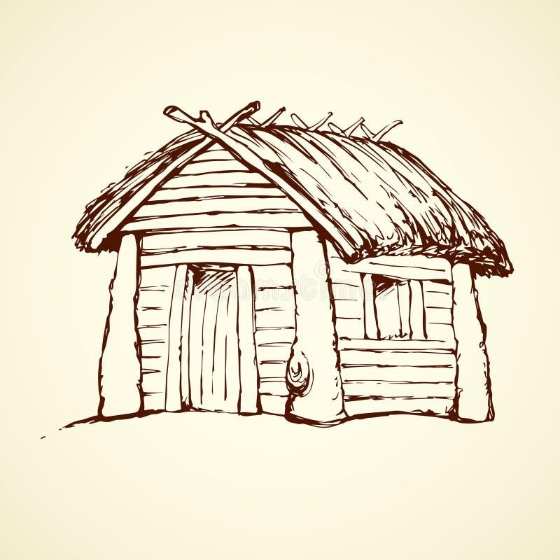 Деревянный дом предпосылка рисуя флористический вектор травы иллюстрация штока
