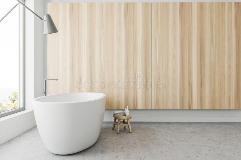 Деревянный панорамный взгляд со стороны интерьера ванной комнаты иллюстрация вектора