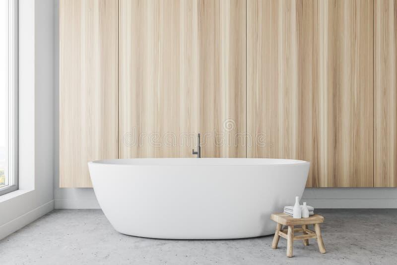 Деревянный панорамный интерьер ванной комнаты иллюстрация вектора
